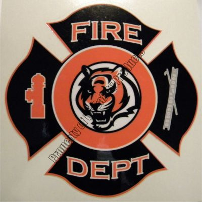 Bengal Tiger Fire Department Maltese Cross Decal