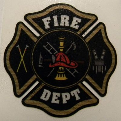 Black with Gold Border Fire Department Maltese Cross Decal