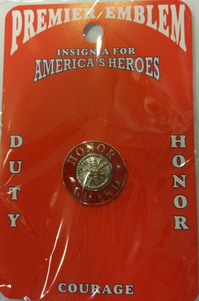Red Honor Guard Collar Pin with Silver Seals