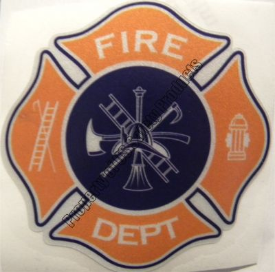 Light Orange and Navy Fire Department Maltese Cross Decal