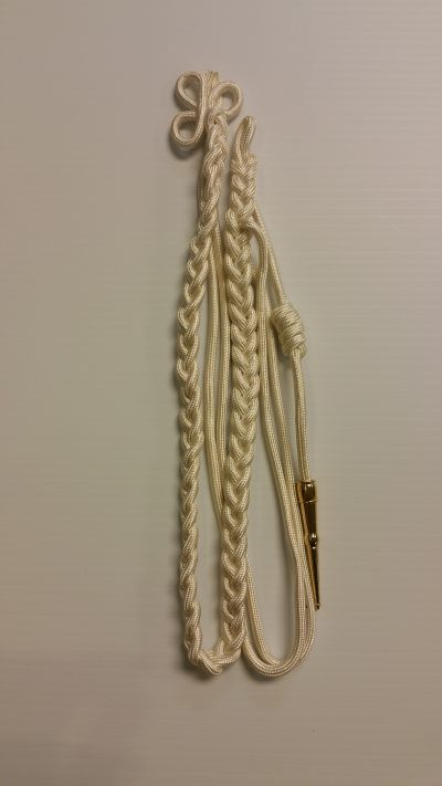 White Aiguillette with Double White Strand and Gold Tip 12inch