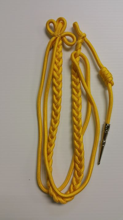 Yellow Aiguillette with Double Yellow Strand Silver Tip 12inch