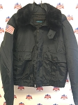 Spiewak Jacket With Fur Collar With American Flag on Right Sleeve Size XL