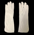 Men's White Cotton Long Cuff Dress Gloves with PVC Grip