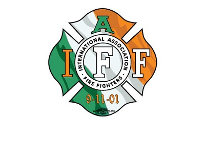 IAFF Irish Flag Decal with 9-11-01
