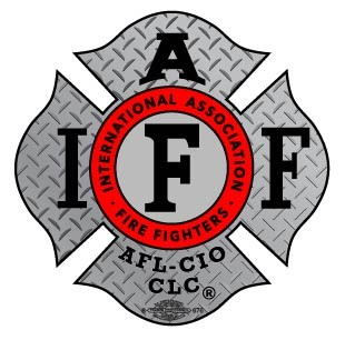 "IAFF Diamond Plate Decal with Black ""IAFF"""