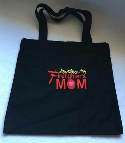 """Firefighter's Mom"" Embroidered Black Tote Bag"