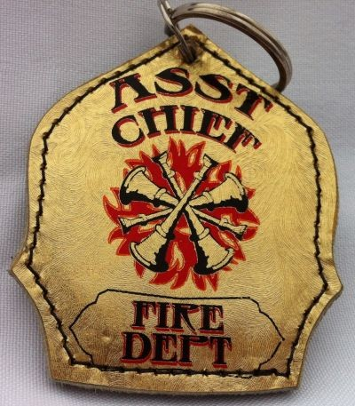 Assissant Chief Gold Leaf Brushed Pattern Shield Keychain